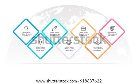 Business infographics. Presentation with 7 steps, options, squares. Vector template.