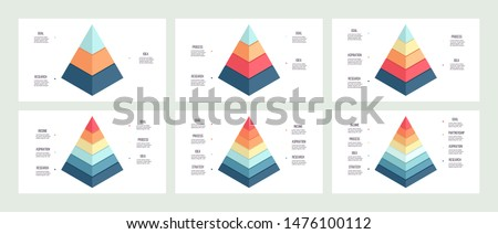 Business infographics. Pyramid charts with 3, 4, 5, 6, 7, 8 steps, options, layers, levels. Vector diagram. Foto stock ©