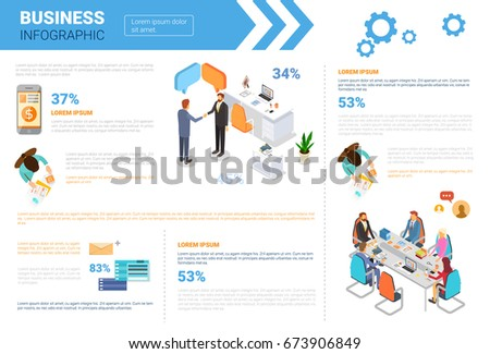 Business Infographics Set With Copy Space For Presentation Meeting Negotiation Concept Flat Vector Illustration - Shutterstock ID 673906849