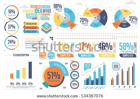 Business infographics set with different diagram vector illustration. Data visualization elements, marketing charts and graphs. Website and presentation template. Abstract infographics data template.