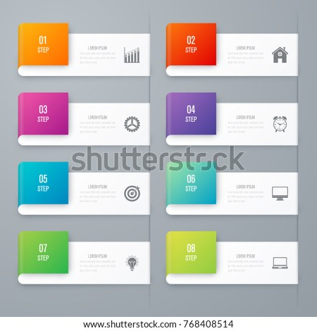 Business infographics template 8 steps square. Data and information visualization. Dynamic infographics stylish geometric. element for design business invitations, gift cards, flyers and brochures
