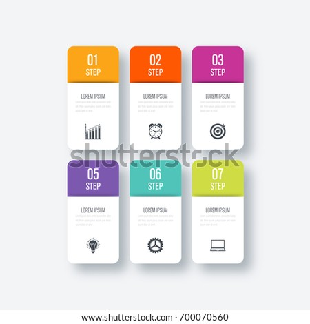 Business infographics template 6 steps with square. Can be used for workflow layout, diagram, number options, web design, presentations