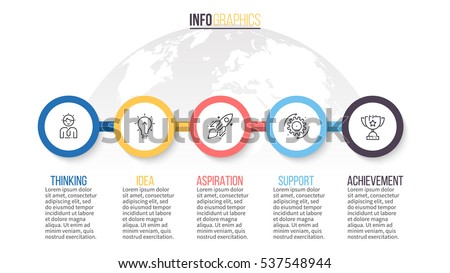 Business infographics. Timeline with 5 step, circles. Vector infographic element.