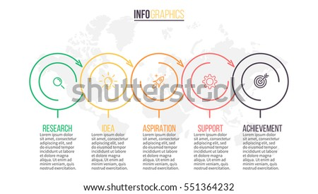 Business infographics. Timeline with 5 steps, circles, rings.