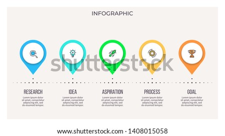 Business infographics. Timeline with 5 steps, options, pointers. Vector chart.