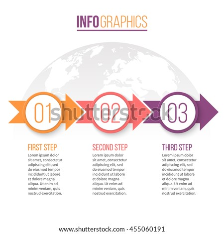 Business infographics. Timeline with 3 steps, parts, arrows. Vector design template.
