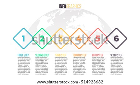 Business infographics. Timeline with 6 steps. Vector infographic element.