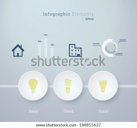 Business infographics vector illustration with light bulb icon set and diagrams for workflow layout, web site design, number options - green, blue version