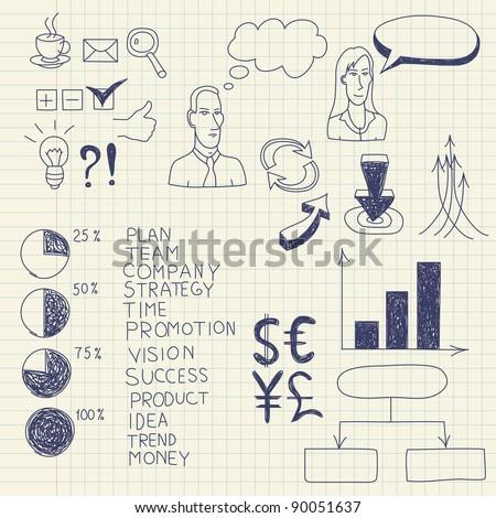 Business ink doodles on paper. Vector illustration.