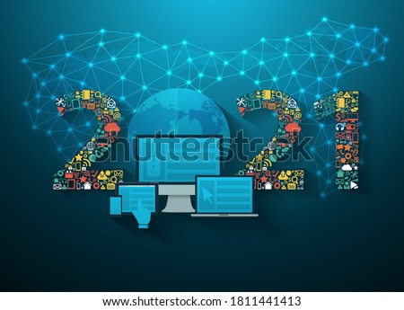 Business innovation technology 2021 new year set application icons digital marketing ideas concept, Vector illustration modern design layout template