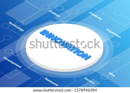 business innovation words isometric 3d word text concept with some related text and dot connected - vector illustration