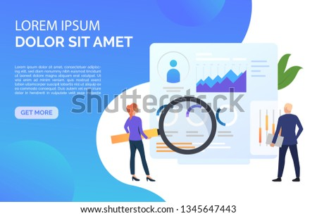 Business inspectors at statistic data vector illustration. Analysis, analytics, accounting. Marketing concept. Creative design for layouts, web pages, banners