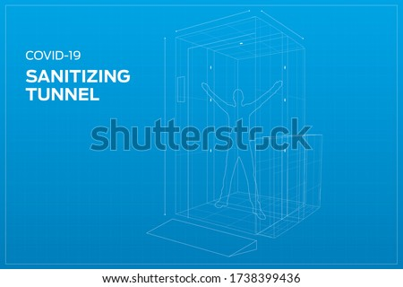 business installed sanitizing gates disinfectant gate Sterilize Gate tunnel to prevent corona virus COVID-19 spread, BLUEPRINT, working