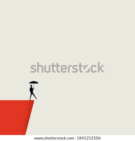 Business insurance and risk management vector concept. Man with umbrella on a cliff. Eps10 illustration.