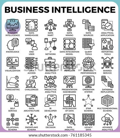 Business intelligence(BI) concept line icon style for ui, ux, website, web, app graphic design