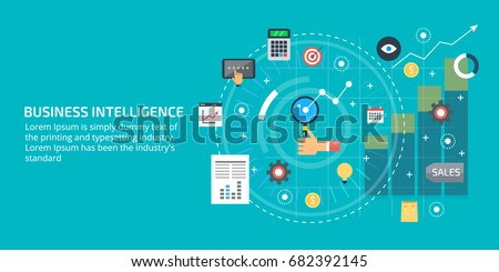 Business intelligence, business data analysis, market research flat vector banner with icons isolated on light background
