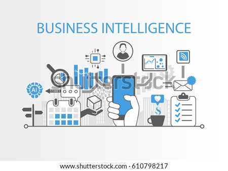 Business intelligence concept as vector background illustration with various symbols