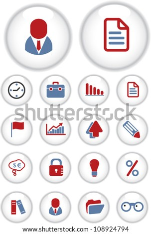 business interface apps circle buttons, vector