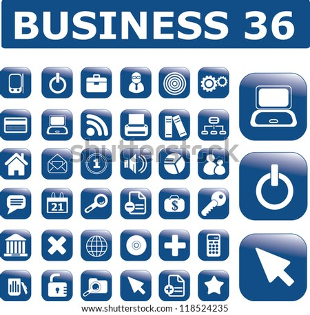 business interface, computer technology icons, buttons set, vectpr