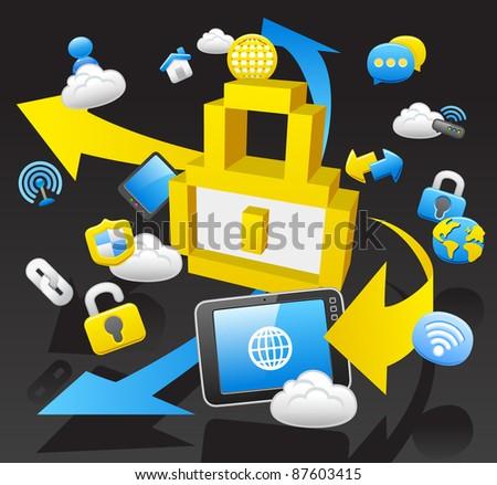 business,internet,computing,cloud computing,tablet PC concept.