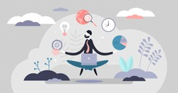 Business internet guru concept, flat tiny person vector illustration. Work stress balance and financial freedom. Business man meditating in yoga lotus pose with computer and managing symbolic aspects.