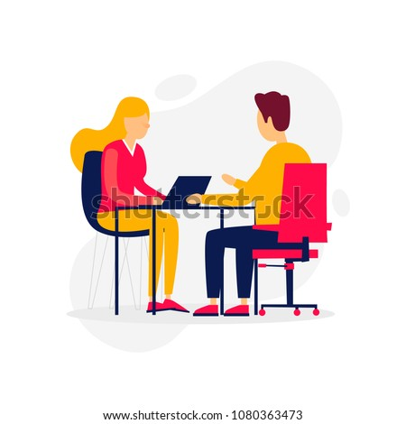 Business, interview, meeting, a girl talking with a candidate. Flat illustration isolated on white background.