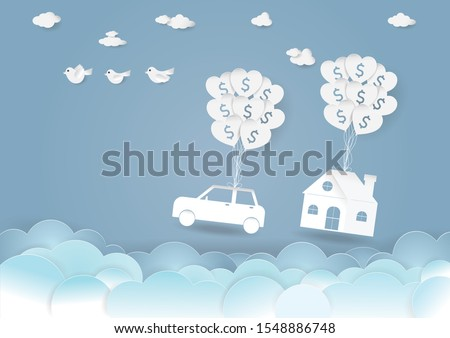 Business investment and real estate, Vector illustration of Paper house and car with balloon and symbol of dollar on blue sky and clouds background,Save money for prepare in future and Banking concept
