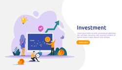 Business investment concept. dollar pile coin, people character, money object. graphic chart increase. Financial growth rising up to success. flat design landing page template vector illustration