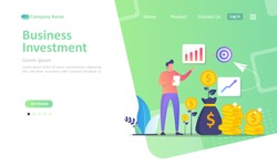 Business investment concept, growing a successful financial, chart increase profit, Suitable for web landing page, ui, mobile app, banner template. Vector Illustration.
