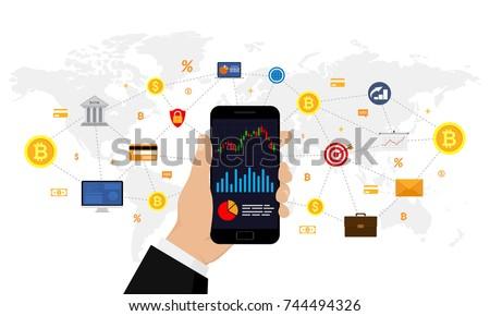 Business investment. Financial technology. Trading design concept. Vector illustration. Flat design.