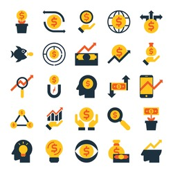 business investment flat icons, money banking concept symbol vector design