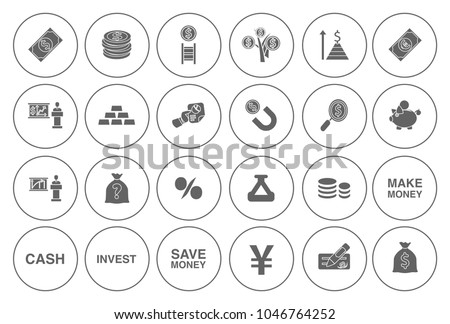 business Investment icons set - money banking sign and symbols