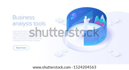 Business investment isometric vector illustration. Data analytics for company marketing solutions or financial performance. Budget accounting or statistics concept.