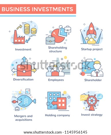 Business investment, Mergers and acquisitions companies set, thin line color icons