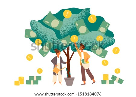 Business investment profit flat vector illustration. Revenue and income metaphor. Businessman and businesswoman characters picking cash from money tree. Investors strategy, funding concept.