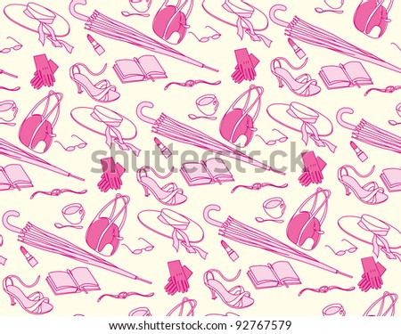 Business-lady, accessory, seamless ornament, vector illustration