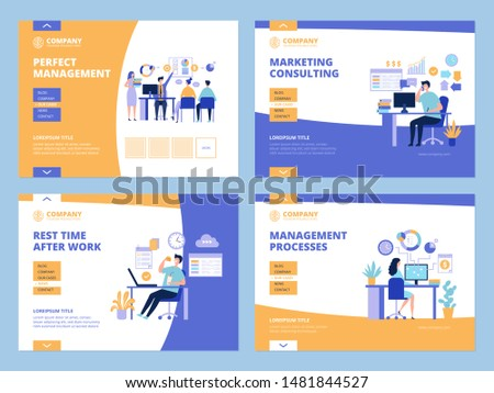 Business landing. Office work managing and planning process clock checklist for managers web pages layout vector template