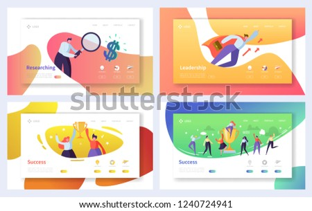 Business Landing Page Template Set. Business People Characters Researching, Leadership, Success Concept for Website or Web Page. Vector illustration