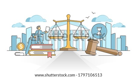 Business law with legal rules and rights regulation statement outline concept. Ethical and moral company justice protection vector illustration. Lawyer company protection with paper works knowledge. Photo stock ©