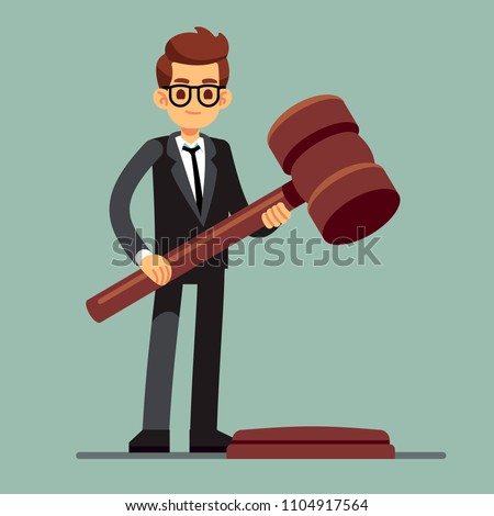 Business lawyer holding wooden judge gavel. Legal verdict, legislation authority vector concept. Illustration of legality jurisdiction, guilty and order juridical