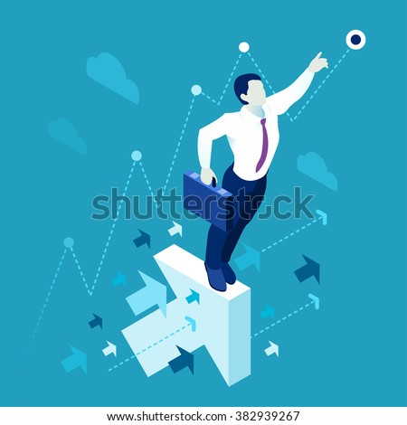 Business Leader Concept Finance Manager Businessman. Leadership Concept Lead Manager. 3D Flat Isometric People Executive Management Vector. Investor trader Business future vision. Individual success