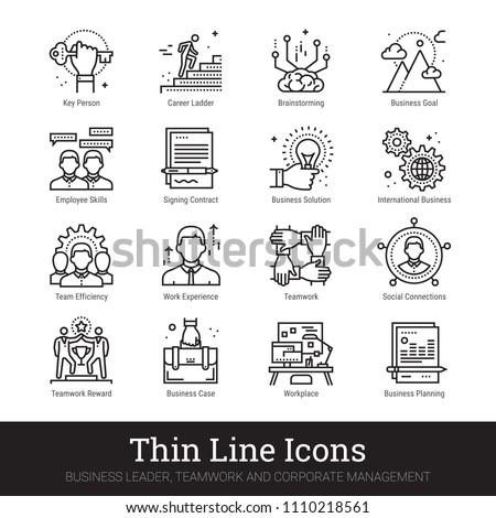 Business leader, teamwork, corporate management thin line icons. Modern linear logo concept for web, mobile application. Businessman, human resources, team building symbols. Outline vector set.