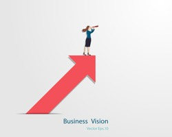 Business leader vector concept. Business woman holding binocular standing on arrow looking up to success goal, Woman in business, Leadership, Vision, Vector illustration flat