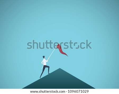 Business leader vector concept with businessman planting flag on top of mountain. Symbol of success, achievement, victory, top career and leadership. Eps10 vector illustration.
