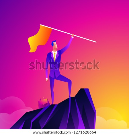 Business leader vector concept with businessman planting flag on top of mountain. Symbol of success, achievement victory, top career and leadership. Eps10 vector illustration. Top manager talent.