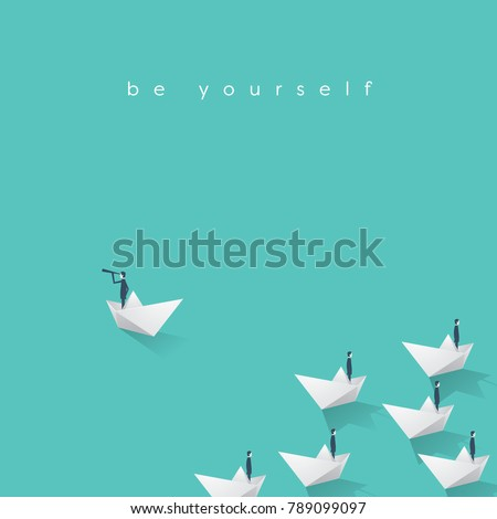 Business leader, visionary vector concept with businessman in paper boat. Symbol of self-confident individual, commitment, determination. Eps10 vector illustration.