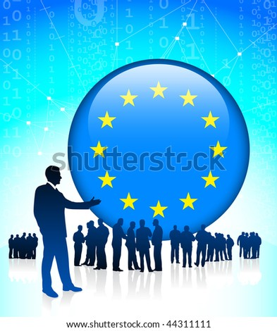 Business leader with European Union Button Original Vector Illustration