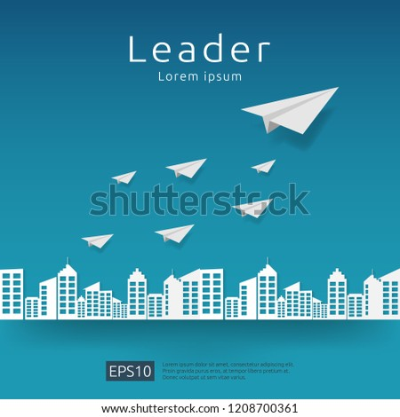 Business leadership and teamwork. paper plane group flying with arrow direction on blue sky. strategy, efficiency, innovation in finance concept. banner flat style vector illustration.