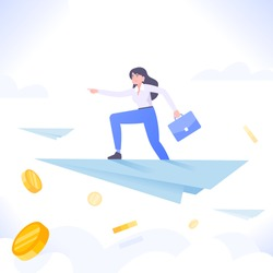 Business leadership concept. Successful businesswoman flying on paper plane over the clouds. Business success metaphor, vector illustration