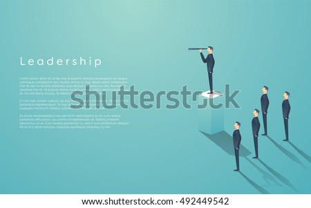 Business leadership concept with businessman standing on pillar. Manager, executive position vector wallpaper. Eps10 vector illustration.